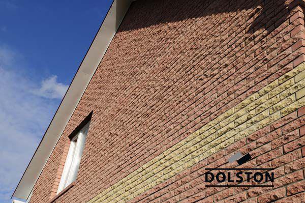 Фото дома из рваного кирпича скала облицовочный кирпич ВИШНЕВЫЙ