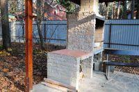 Фото барбекю из цокольного кирпича рваного, цокольный фасадный кирпич ЖЕЛТО-СЕРЫЙ