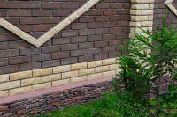 Фото цоколя из рваного кирпича, скала кирпич облицовочный ЖЕЛТЫЙ