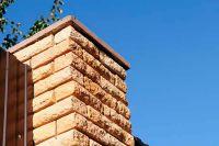 Фото столба из рваного кирпича, скала кирпич облицовочный ПЕРСИК