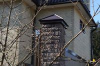 Фото столба из рваного кирпича, скала облицовочный кирпич ГОРЬКИЙ ШОКОЛАД
