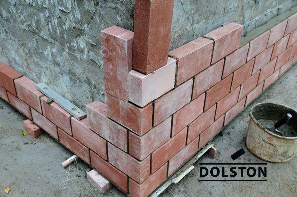 Пример конструкции стены из облицовочного кирпича гладкий облицовочный кирпич ТЕРРАКОТ