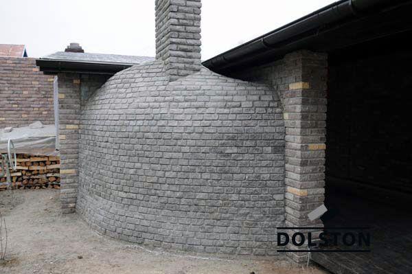 Фото барбекю из камня (кирпичного) скада фасадный камень ЧЕРНО-СЕРЫЙ