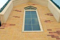 Фото отделки окна цокольным кирпичом, цокольный кирпич облицовочный ЯРКО-ЖЕЛТЫЙ