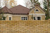 Фото дома из рваного кирпича, скала кирпич облицовочный ЖЕЛТО-ЗЕЛЕНЫЙ