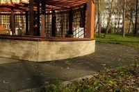 Фото облицовки цоколя плиткой под кирпич, плитка облицовочная под кирпич ЖЕЛТО-СЕРАЯ