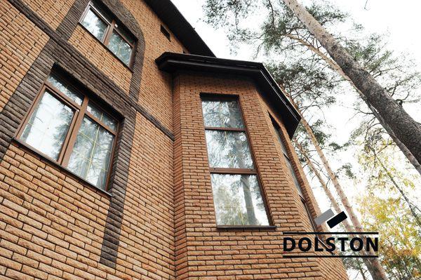 Фото дома из рваного кирпича скала кирпич облицовочный ПЕРСИК