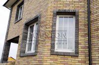 Фото отделки окна гладким кирпичом, гладкий кирпич облицовочный ЧЕРНО-СЕРЫЙ
