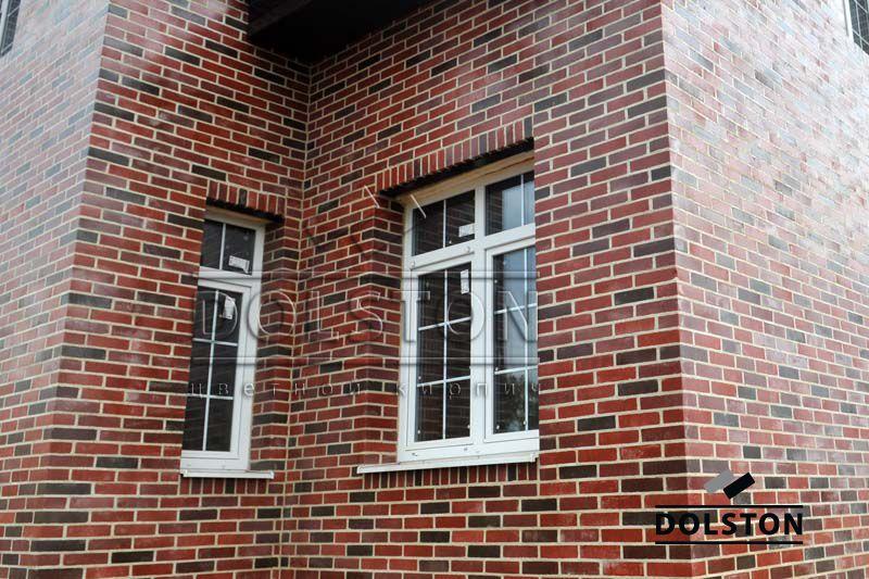 Фото отделки окна кирпичом баварская кладка облицовочного кирпича ГРАНАТ