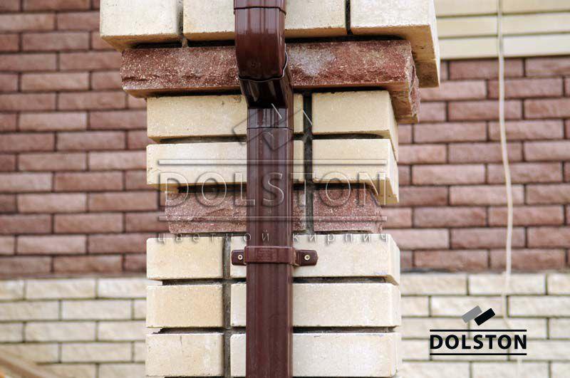 Фото столба из облицовочного кирпича гладкий облицовочный кирпич БЕЖЕВЫЙ